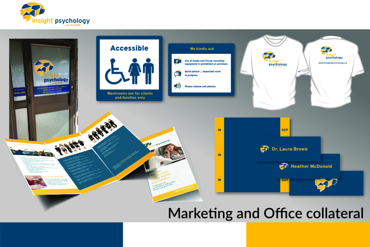 T-shirt, Brochures, Window Sign, Office signs, In out board, Design