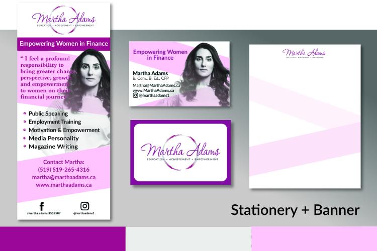 Retractable pop up banner, Business Cards, Letterhead, design